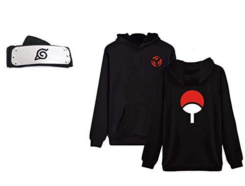 Geek Gear Naruto Shippuden Uchiha Mangekyo Sharingan Itachi Anime Pullover Hooded Sweater Free Headband (XXXX-Large, Black)
