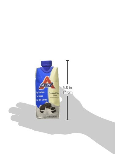 Atkins Ready To Drink Shake, Cookies and Creme, 15g Protein, 2g Net Carbs, 1g Sugar, 11 Ounce, 4 Count (Packaging May Vary)
