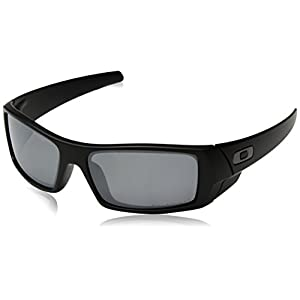 Oakley Men's 12-856 Gascan Iridium Polarized Rectangular Sunglasses, Grey/Black, 60mm