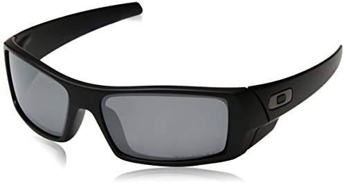Oakley Men's 12-856 Gascan Iridium Polarized Rectangular Sunglasses, Grey/Black, - Mens Oakley Sunglasses Cheap