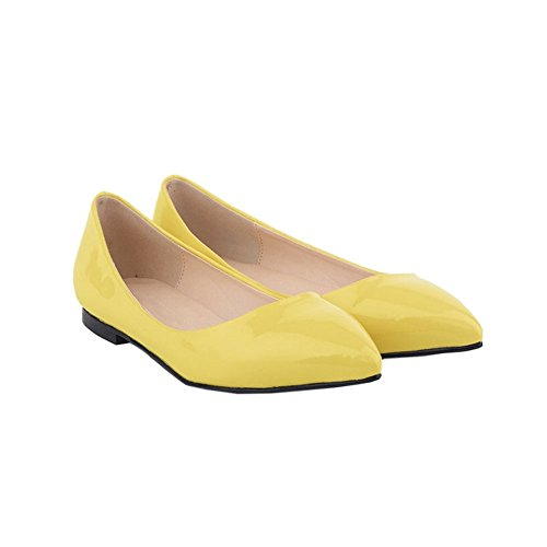 Shoes Pointed Yellow Womens Zhuhaixmy Pumps Shallow Leather Color Shoes Flat Mouth Candy 61HaqwYHp