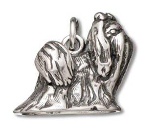 Sterling Silver Polished Shih Tzu Dog Charm Pendant (13 x 17 mm)