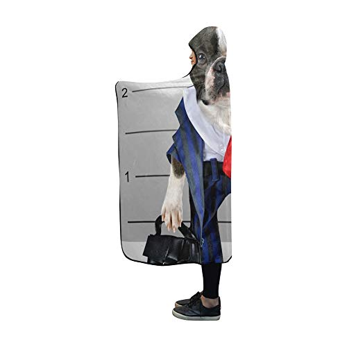 YUMOING Hooded Blanket Dog Front Convict Poster Getting Mug Blanket 60x50 Inch Comfotable Hooded Throw Wrap ()