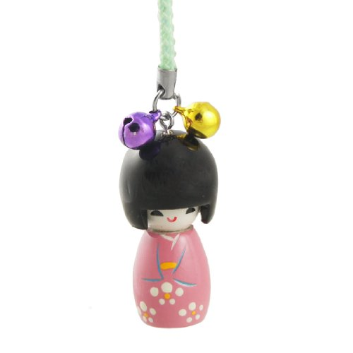 (uxcell Nylon Japanese Doll Pendant Green String Cell Phone Strap Black Dark)