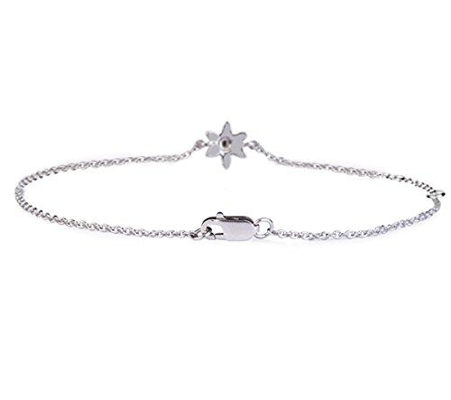 Or Blanc 14 ct Bracelet Diamant en forme de Fleur, 0.01 Ct Diamant, GH-SI, 1.92 grammes.