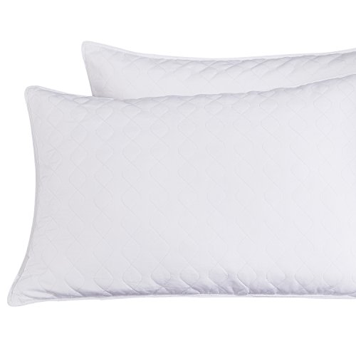 puredown Quilted Goose Feather Pillow Set of 2 White Standar