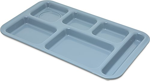 Tray Cafeteria Blue - Carlisle 4398259 Right-Hand 6 Compartment Melamine Cafeteria Food Tray, BPA Free, 15