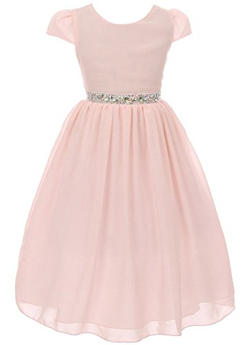 Chiffon Jeweled Dress - iGirldress Girls Short Sleeve Chiffon Jeweled Belt Holiday Party Flower Girl Dress Blush Size 4
