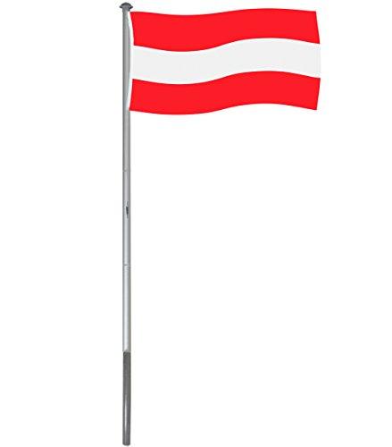 BRUBAKER Aluminium Fahnenmast Flaggenmast 4 m inklusive Deutschland Flagge + Österreich Flagge 150 x 90 cm und Bodenhülse