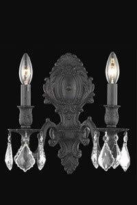 Elegant Lighting 9602W10DB/SA Monarch - Two Light Wall Sconce, Dark Bronze Finish with Spectra Swarovski Crystal - Crystal (Clear) - Brass Antique Sconce