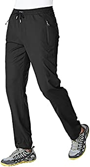 BGOWATU Men's Athletic Running Pants Lightweight Quick Dry Jogging Hiking Casual Sports Sweatpants with Zi