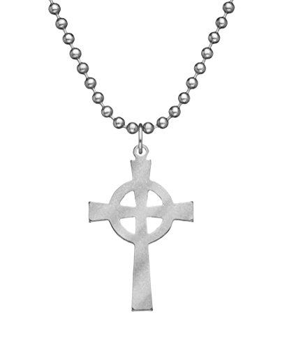 GI JEWELRY - Genuine U.S. Military Issue Celtic Cross With Beaded Chain - - Cross Celtic Jewelry