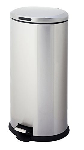 HomeZone VA40914A 30L Stainless Steel Oval Step Trash Can