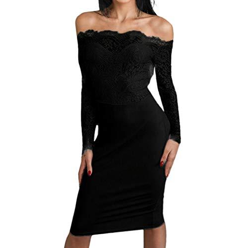 ❤️ Vestidos de Fiesta Mujer,Modaworld Vestido Ajustado de Manga Larga para Mujer Bodycon Sexy Midi Vestido de Encaje de Noche para Mujer Vestidos de Fiesta Elegantes de Boda Coctel Negro