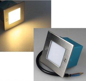 LED Wand-Einbauleuchte Edelstahl eckig warmweiß 230V 1,5W IP54 Treppenlicht, Stufenlicht