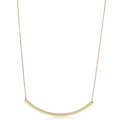 14kt Italian Yellow Gold Curved Bar Necklace with Link (Yellow Gold Bar Link Chain)