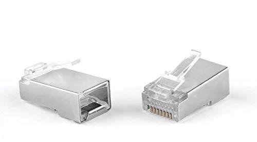 (Maxmoral 50-Pack Metal Shielded RJ45 RJ-45 8P8C Network CAT5E CAT Modular Plug Connector)