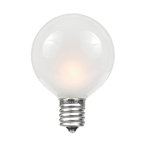 Novelty Lights 25 Pack G40 Outdoor Globe Replacement Bulbs, Frosted White, C7/E12 Candelabra Base, 5 Watt