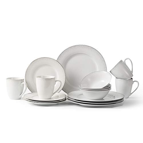 P T Royal Porcelain Silver Spots 16 Piece Dinnerware Set Service for 4 White with Silver-trim