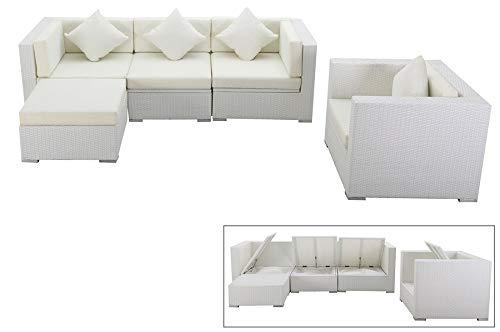 OUTFLEXX Lounge Sofaset Sessel und Sitz-Hocker aus hochwertigem Polyrattan in weiß für 5 Personen, inkl. Polster-Kissen und Kissenboxfunktion mit Innentasche, Zeitloses Design, wetterfest