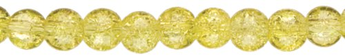 Jewelry Basics Glass Beads 6mm 85/Pkg-Yellow Cracked Glass Round