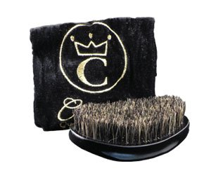 Crown Quality Products 360 Gold Mixed Boar Bristle Caesar Brush - Onyx Black Medium