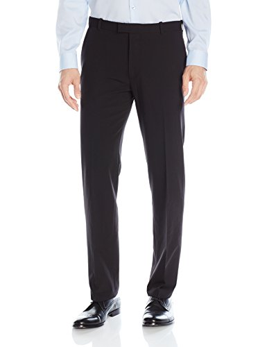 Van Heusen Men's Flex Straight Fit Flat Front Pant, Black, 34W x 32L by Van Heusen