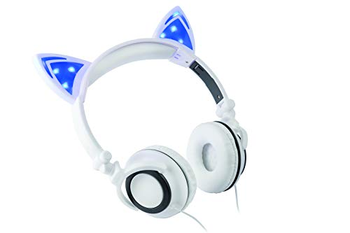 Ear Cups Padded - Headphone Over The Ear On The Head Light Up Cat Ear Feline Premium Quality Audio with Super Bass Comfort Padded Ear Cups Foldable 3.5MM Connector (White Cat Headphone)