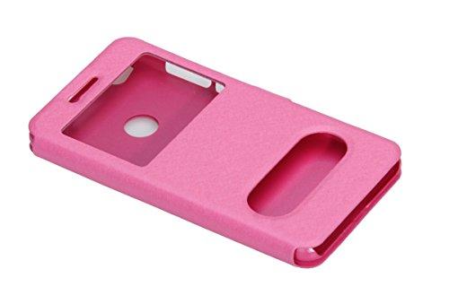 EMIRROW Huawei P8 Lite (2017) Funda,PU Cuero Flip Case -[ Ventana + Función de Soporte + Cierre Magnético] Funda Libro Ultra Slim (Rosa roja) Rosa roja