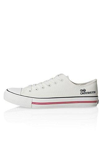 Crosshatch Herren Canvas-Sneaker Low-Top Sneaker Sportschuhe Freizeitschuhe White