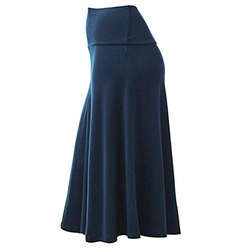 Femme Midi Uni Bleu lgant Fluide Tombe Bassique Jupe Jupe Tissu Chic Bien lgant Doux SANFASHION 5EwOX8qtnW