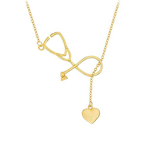 Stethoscope Lariat Necklace Heart Pendant Heartbeat Choker Medical Women Collarbone Chain Necklace Charms Jewelry Golden Plated