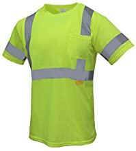 TROY-9082 High Visibility Reflective Short Sleeve Safety T Shirt Class 3 ANSI Certificate (Lime, Extra Large)