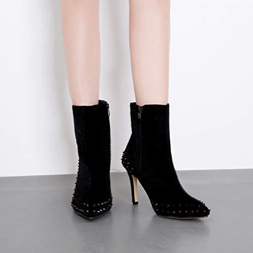 Autunno Stivaletti Yan Moda Boots Donna Black Punta Personalizzati Da Scarpe Rivet Ladies Stiletti B Inverno nWrprAwxXq
