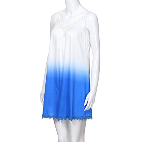 Sans Col S Bleu Robe 2xl Taille line Soirée Grande Jupe Gradient De Femmes À A Mini Au Lâche Dentelle Parties Rond Adeshop Robes Élégant Manches Sling Genou Casual xXpwSqWA8n
