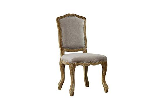 Baxton Studio Chateauneuf French Vintage Cottage Weathered Oak Linen Upholstered Dining Side Chair, Medium, Beige (Baxton Studio Linen Chair)