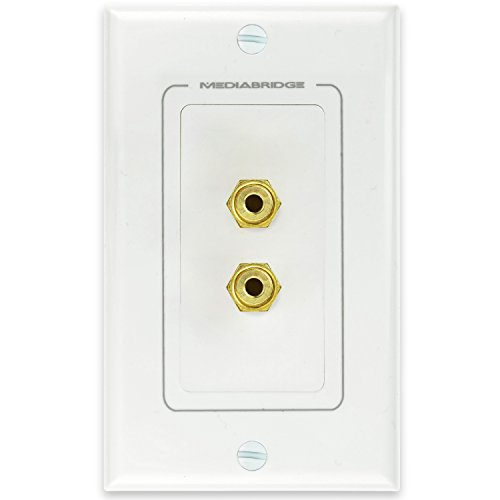 Mediabridge Speaker Wall Plate w/Binding Posts (1 Pair) - Free Mounting Bracket (1-Gang) - for 1 Speaker (WP1-BPX1)
