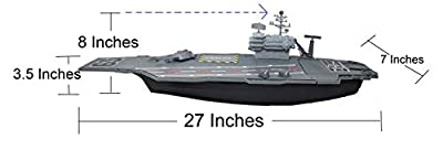 "27"" Aircraft Carrier Toy Playset with Fighter Jets Vehicles and Mini Soldiers (Bonus 9 Fighter Jets)"
