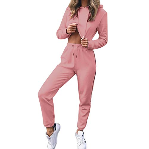 Womens 2 Piece Outfit Sport Bodycon Crop Top Long Pant Tracksuit Pullover Hoodie Sweatpants Sport Jogger Set Pink