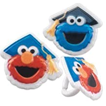 Sesame Street Elmo and Cookie Monster Graduation Cupcake Rings - 12 ct by Party Supplies