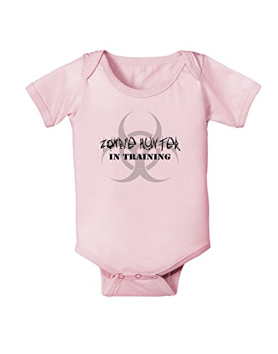 Zombie Hunter in Training - Biohazard Baby Romper Bodysuit - Light Pink - 12 Months -