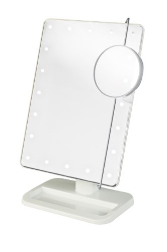 Jerdon JS811W 8-Inch by 11-Inch Rectangular LED Lighted Vanity Mirror with 10x Magnification Spot Mirror, White Finish by Jerdon
