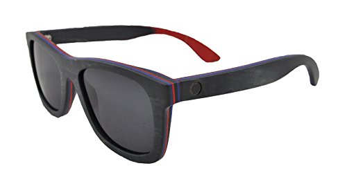 InfuseZen Skateboard Wooden Sunglasses for Men or Women, Wood Sun Glasses in Black with Blue and Red Layers and Black Polarized Lenses, Trendy Wood Frame Sunglasses, Wood Sunglasses Unisex ()