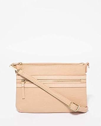Beige Large Zip Pocket Peta Crossbody Bag