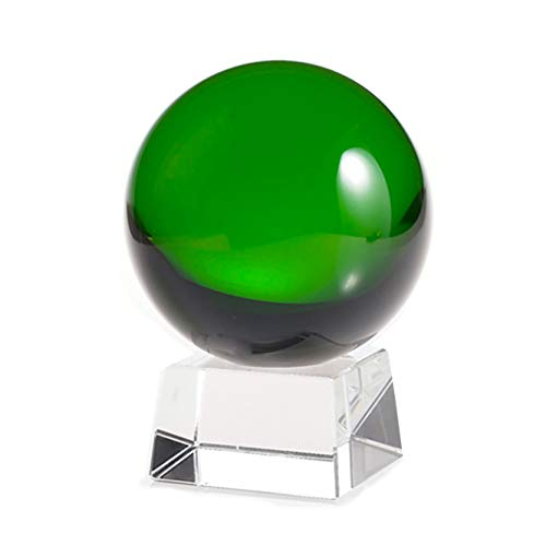 Amlong Crystal Green Crystal Ball 80mm 3.1 in. Including Angled Crystal Stand and Gift Package