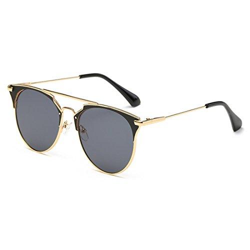 Huicai Glasses afas Negro Vintage de sol Sun Gris 400 Cat moda de unisex Gafas Metal Eye Todo UV Oro 88arxOqdn