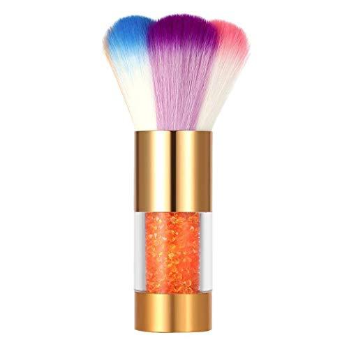 OUSPOTS Colorful Nylon Hair Nail Dust Brush Nail Art Dust Remover Brush Makeup Foundation Powder Brush (Gold) (Copper Powder Foundation)