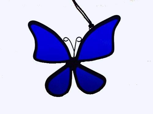 Handcrafted Blue Butterfly Suncatcher Stained Glass Ornament (Suncatcher Handcrafted Stained Glass)