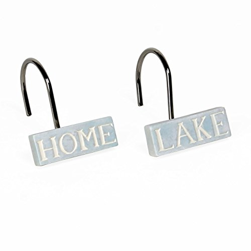 Saturday Knight Lake Retreat Bath Collection - Set of 12 Resin Matching Shower Curtain Hook Set by Trendy Linens
