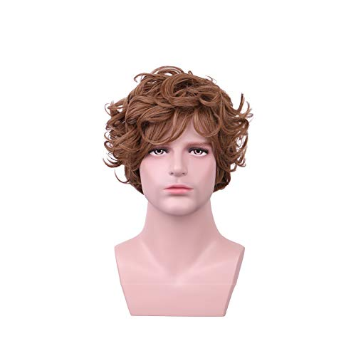 Yilys Short Curly Brown Halloween Cosplay Wig